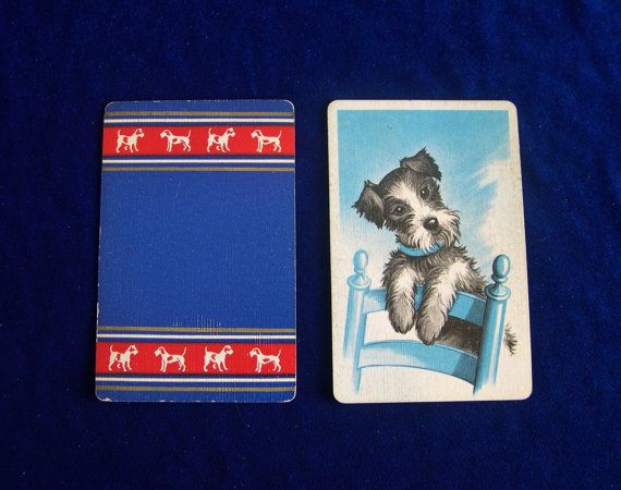 1930s wire haired Fox terrier art playing cards for collecting or trading. We love the portrait of the Fox terrier pup on the back of the