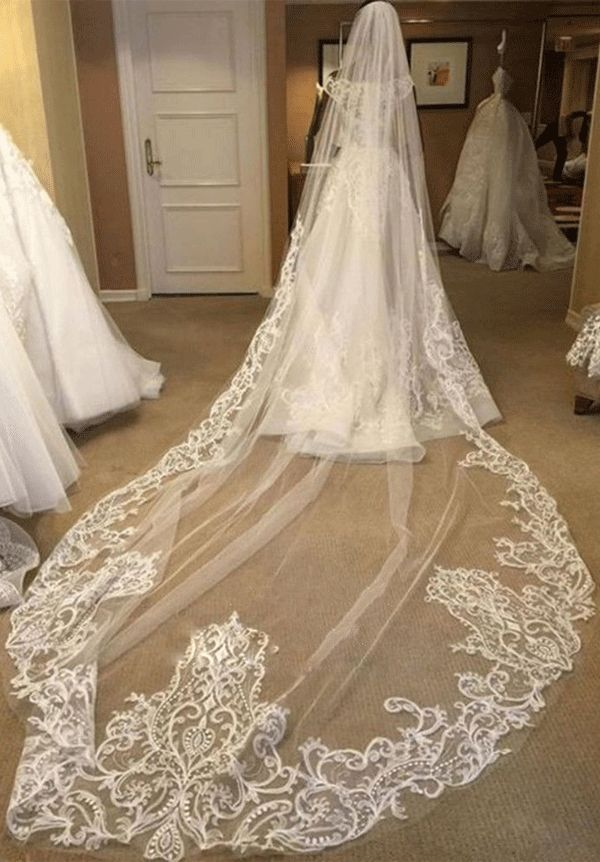 Beautiful 1 Tier Long Wedding Cathedral Veil Wedding Veils Cathedral Wedding Veils Bridal Veil