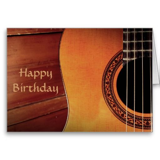 Acoustic Guitar wooden music Happy Birthday Greeting Card
