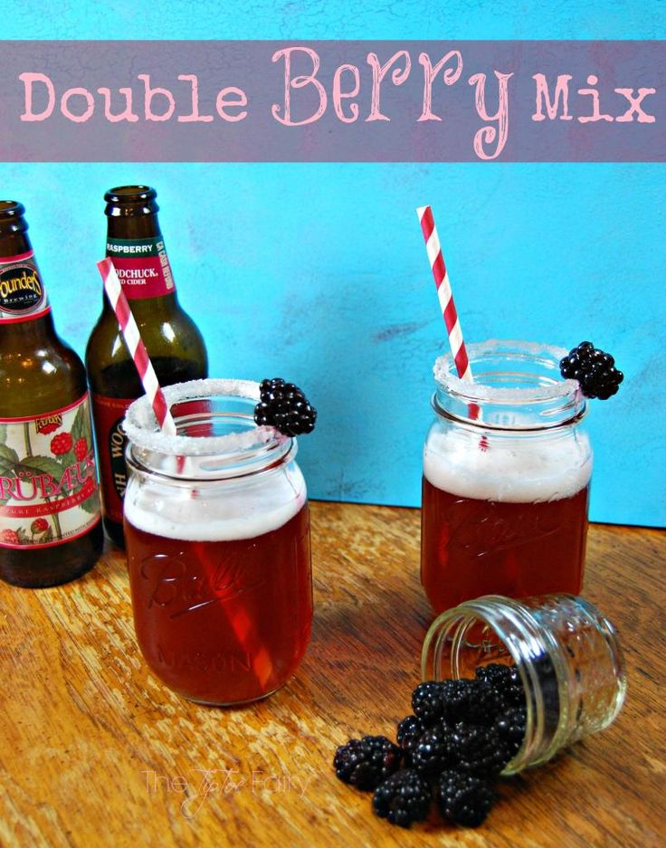 Fun! Cider & Fruit Beer Mix Drink!! Yum!   Double Berry Mix | The TipToe Fairy  #ciderrecipes #drinks