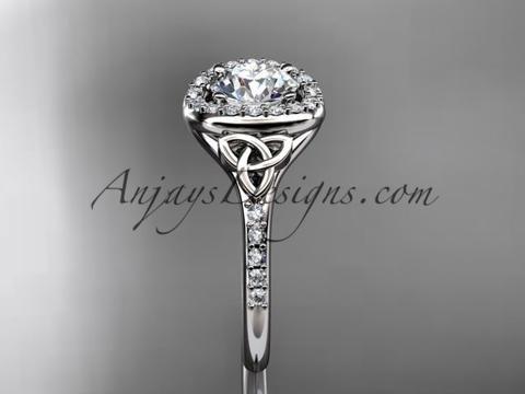 platinum diamond celtic trinity knot wedding ring, engagement ring CT7201 - AnjaysDesigns