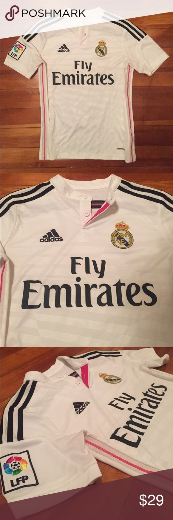 Adidas Real Madrid James Rodriguez Football Jersey This is an authentic, brand new, never been worn Real Madrid football jersey with James Rodriguez's name and number. This is white with pink highlights. This was bought straight from the Real Madrid online store. Youth size large, fits like a women's small. adidas Tops