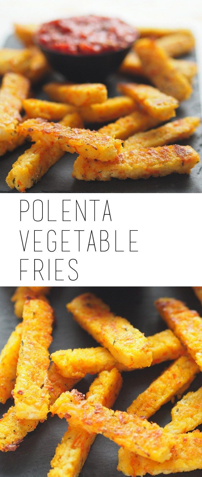 Baked polenta vegetable fries - serve with a classic marinara sauce as a family friendly snack or side dish