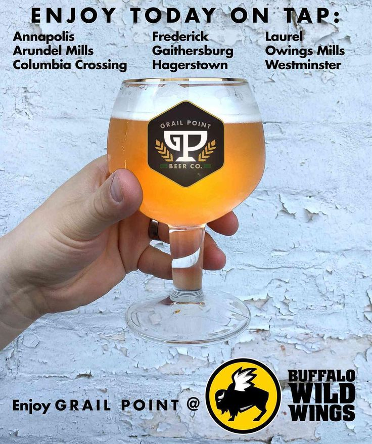 HEAR YE HEAR YE.  The time has come! Our beers are now available on tap at these Maryland locations of Buffalo Wild Wings. Want to win a free Grail Point hat? We are giving one away to each of the first 10 people that host a happy hour to try our Penitent Pale Ale at one of these locations within the month of June! Simply post a picture on social media of you enjoying a glass of our beer with your friends and tag us in it (and make sure the post has public privacy settings so we can see it)…