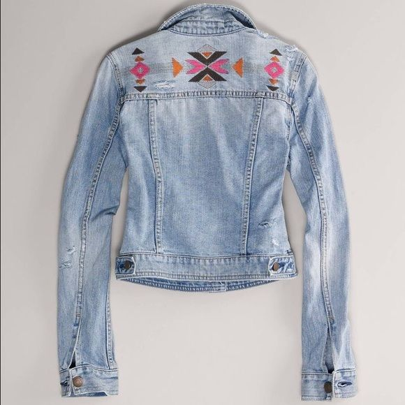 American Eagle Aztec Embroidered Jean Jacket American Eagle denim jean jacket. Distressed. Aztec embroidered on the back of jacket. Light wash. Soft cotton denim. Worn a few times, in excellent condition. No stains. American Eagle Outfitters Jackets & Coats Jean Jackets