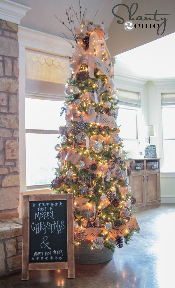 Great decorating idea for a skinny Christmas Tree. Plus a chalkboard sign tutorial.