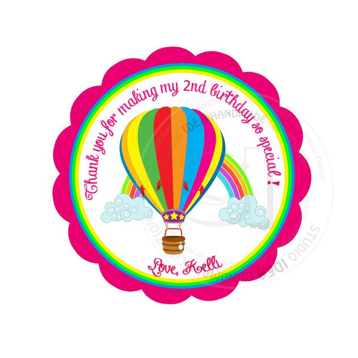 """Custom Stickers-Hot Air Balloon & Rainbow 2.5"""" STICKERS-Colorful Thank you Stickers- Personalized Hotair Ballon Stickers 2.5 inches by StudioIdea on Etsy"""