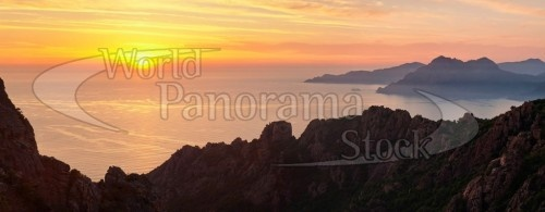 Panorama of sunset over the sea, Les Calanche,  Gulf of Porto, Corsica, France