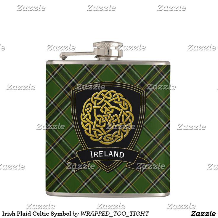 Irish Plaid Celtic Symbol Flask