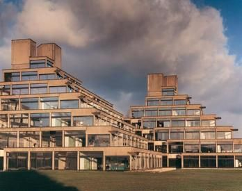 """Unique """"pyramid"""" student residences at the University of East Anglia, Norwich. #studyabroad #UEA #norwich"""