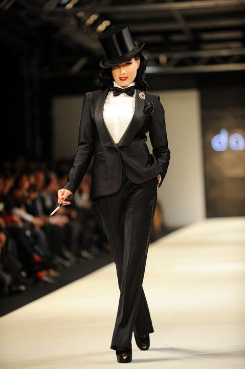 Dita von Teese makes a statement in a top hat.