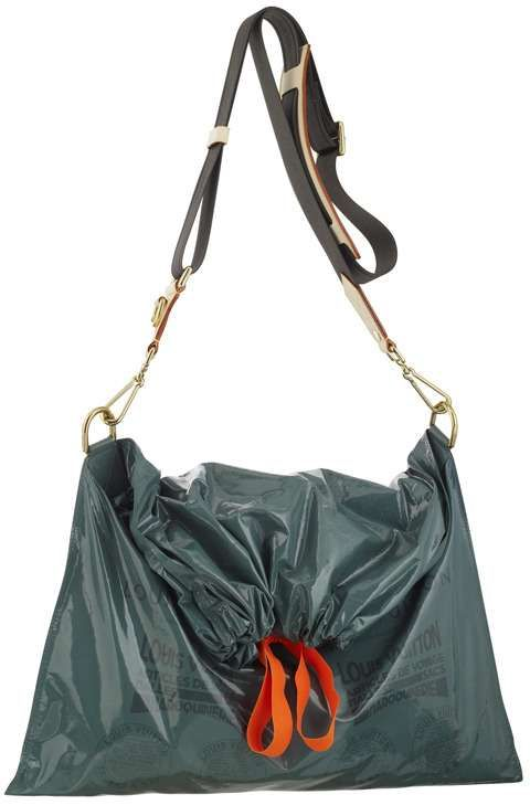 $2,000 trash bags. I'm almost not kidding.  Marc Jacobs latest handbags look like trash. They are draw-string trash bags to be exact. The new Louis Vuitton Raindrop Besace comes in green and brown and the only thing separating it from a real trash bag is the coated canvas it is made of and the removable shoulder strap.  I guess that justifies the price.  Not.
