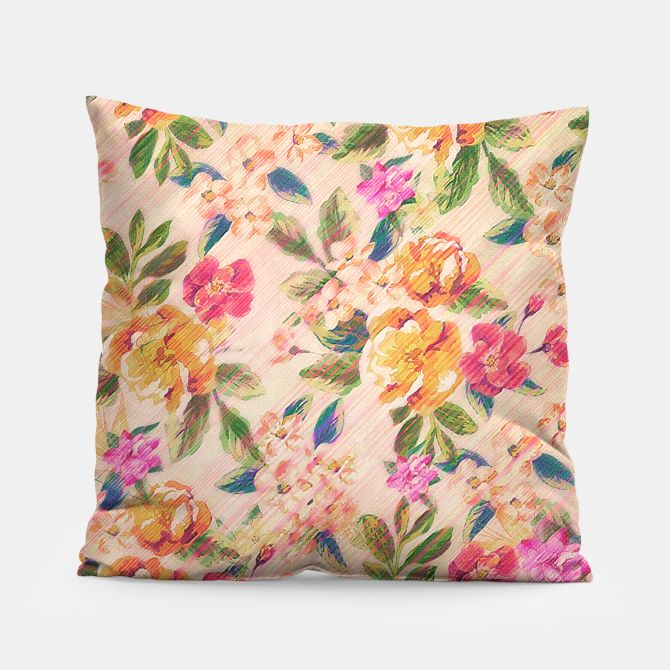 Golden Flitch (Digital Vintage Retro / Glitched Pastel Flowers - Floral design pattern) Pillow, Live Heroes