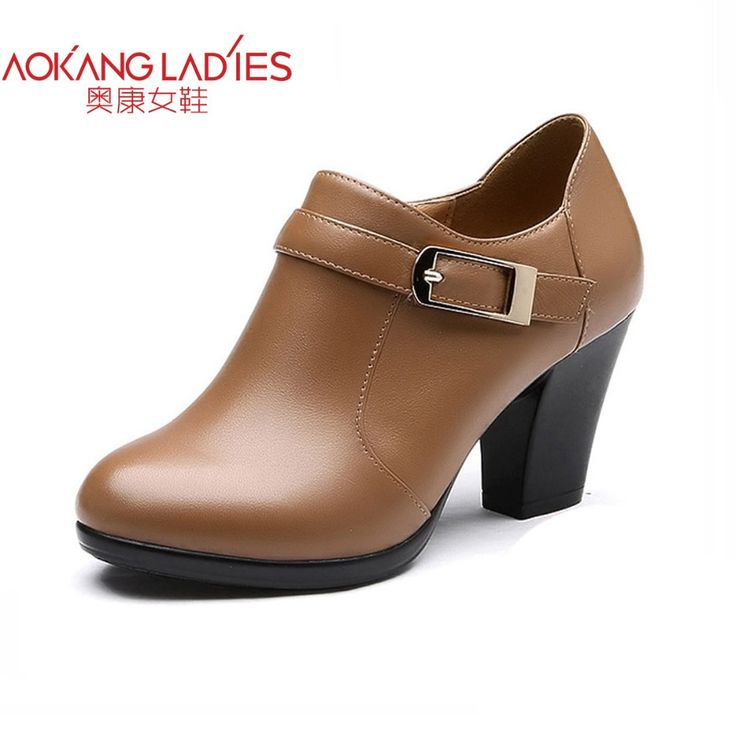 AOKANG 2016 New Arrival women oxford shoes split leather female shoes High hoof Heels ladies shoes with zipper free shipping