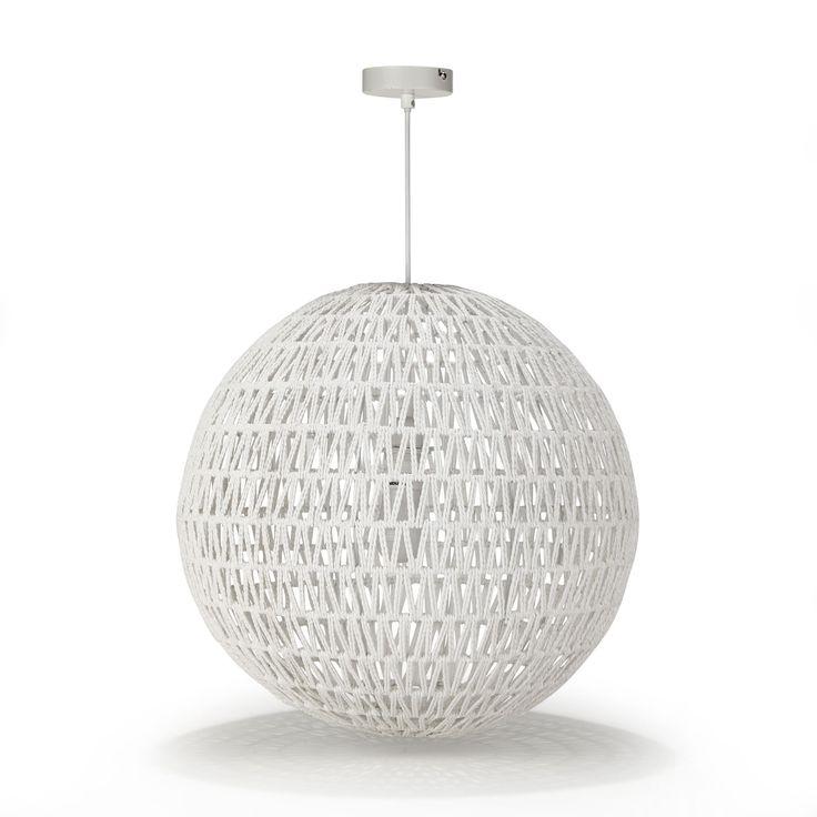 Suspension boule en cordes blanches non lectrifi e blanc for Luminaire suspension salle a manger