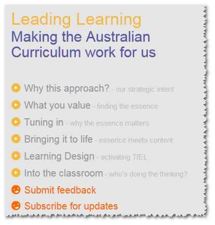 'Leading Learning: Making the Australian Curriculum Work for Us' website supersedes the TfEL DVDs that used to go out to schools. There is some introductory information about this resource at http://www.learningtolearn.sa.edu.au/tfel/pages/tfelresources/satfelframeworkguide/