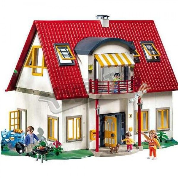 PLAYMOBIL Suburban Life 4279 Suburban House. With tilting attic windows.  * Terrace with garden furniture and barbecue.  * 2 adults, 2 children and dog figures included.  * Extendable sun shade.  * Chiming doorbell  #DollsHouseBuildingBlocks