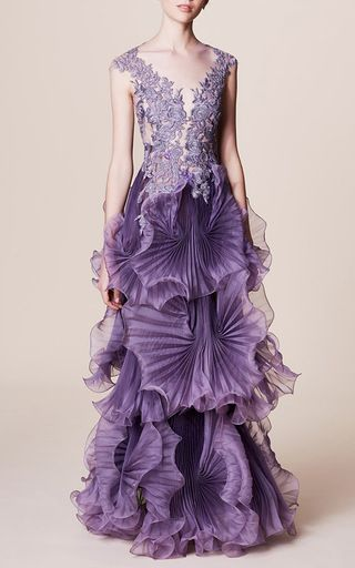 Embroidered Hand Pleated Gown by MARCHESA for Preorder on Moda Operandi