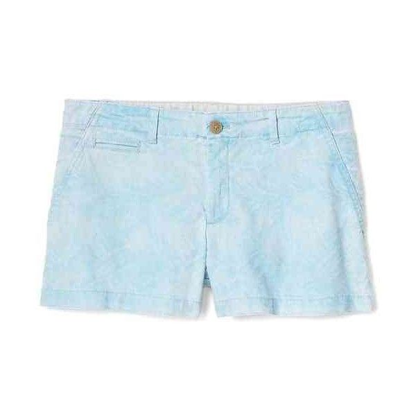 Gap Women Print Twill Shorts ($36) ❤ liked on Polyvore featuring shorts, blue leaf print, petite, mid rise shorts, print shorts, petite shorts, patterned shorts and zipper shorts