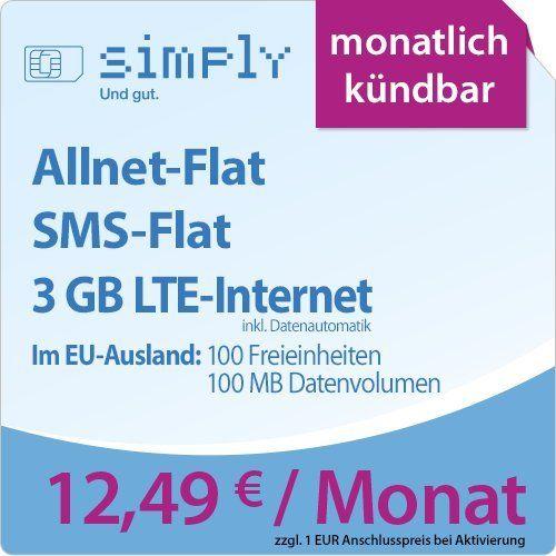 simply LTE 3000 [SIM, Micro-SIM und Nano-SIM] monatlich k�ndbar (3 GB LTE-Internet mit max. 50 MBit/s inkl. Datenautomatik, Telefonie-Flat, SMS-Flat, aus dem EU-Ausland in alle EU-Netze: 100 Freieinheiten und 100 MB Internetvolumen, 12,49 Euro/Monat) O2-Netz