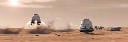 NASA Space X Great Red Dragon Photos | Vue d'artiste de sondes spatiales Red Dragon (à l'atterrissage et ...
