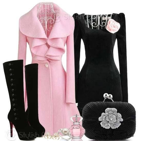 elegant outfits for party ~ pink and black are so pretty together