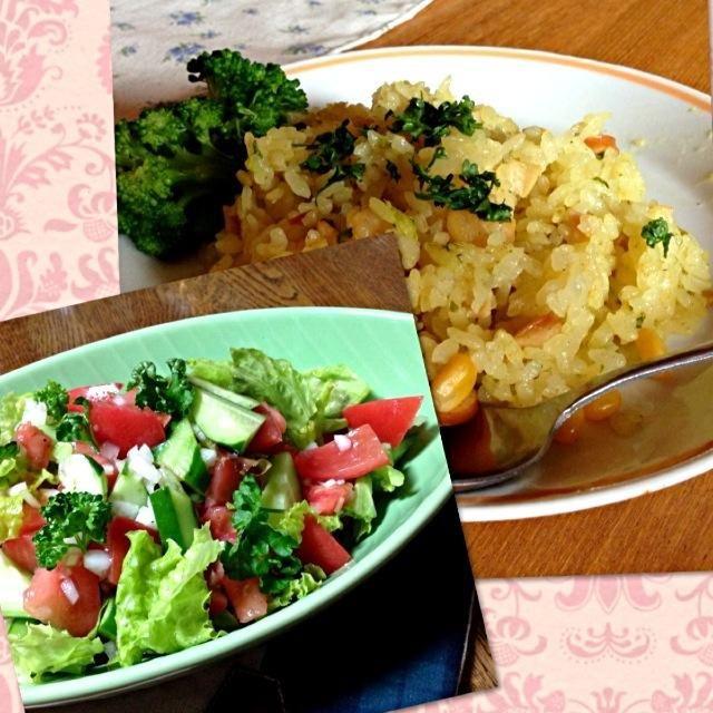 クララさんのサラダと炊飯器で炊いたカレーピラフですどっちもメッチャ美味しいよ - 106件のもぐもぐ - スプーンで食べる‼夏のトマトときゅうりのサラダ⭐カレーピラフ by KyonKyon1110