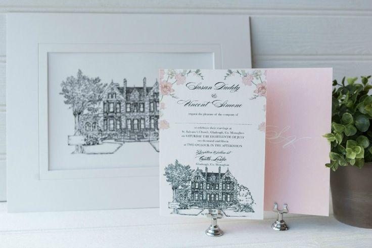 Showcasing Our Hand Drawn Ink Venue Illustration Alongside Sweet Florals - Vincent Simone & Susan Duddy's Fairytale Wedding in Castle Leslie Estate