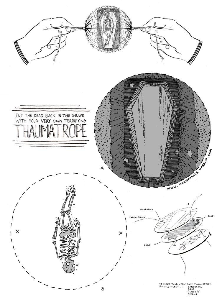 Skeleton in a coffin thaumatrope