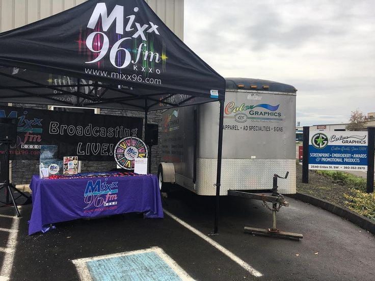 Broadcasting live here at Color Graphics for Customer Appreciation Day! #colorgraphicswa #olywa #mymixx96