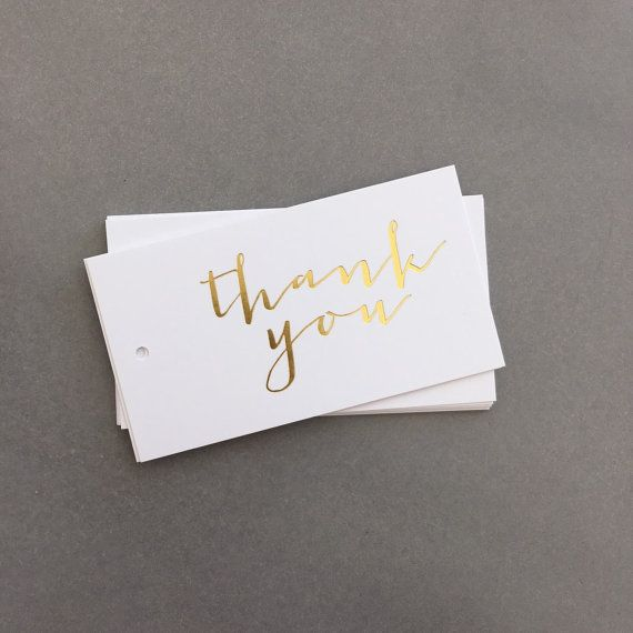 Gold foil gift tags, thank you, Gold Thank You Gift Tags, Gold Foil Wedding Favour Tags, Real Foil