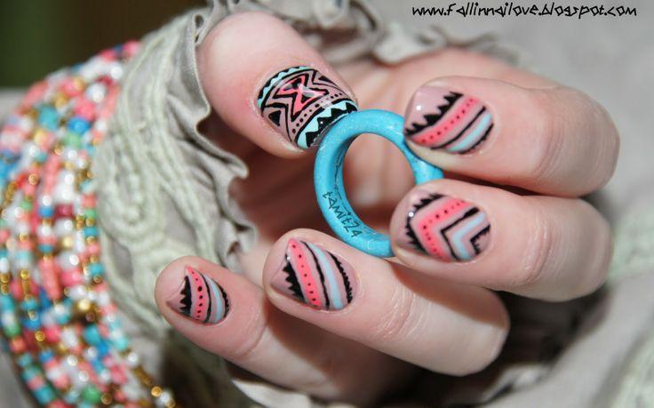 fall in ...naiLove!: Neon aztec nails.