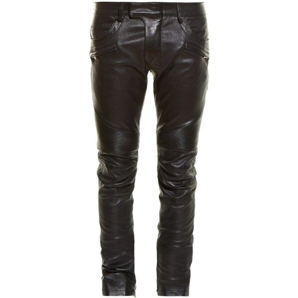 Balmain Biker slim-leg leather trousers ($3,297) ❤ liked on Polyvore featuring men's fashion, men's clothing, men's pants, men's casual pants, black, mens leather pants, mens slim pants, mens leather biker pants, mens slim leather pants and mens slim fit pants