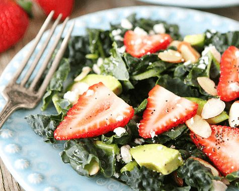 Kale, Strawberry & Avocado Salad w/Lemon Poppy Seed Dressing - Clean Eating Corner
