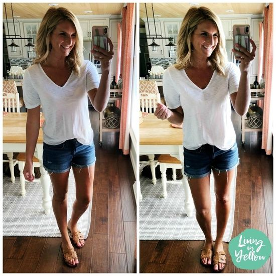 Summer Wardrobe Basics // Basic V Neck Top with Shorts and Tan Sandals // Non Sheer Tee // Mid Rise Shorts // Affordable Summer Outfit // Summer Basics // Comfortable Slide Sandals // Summer Fashion // Outfit of the Day