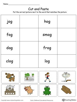 **FREE** OG Word Family Match Picture with Word in Color Worksheet. Topics: Phonics, Sorting & Categorizing, Reading, and Word Families.