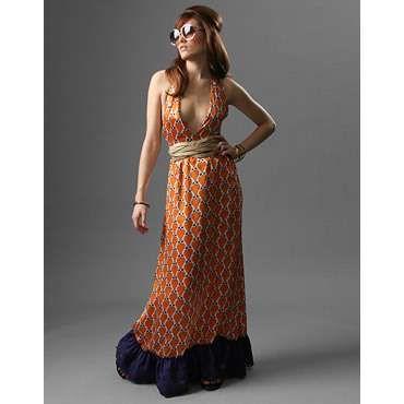 Patrizia Pepe Silk Owl Print Halter Maxi Dress