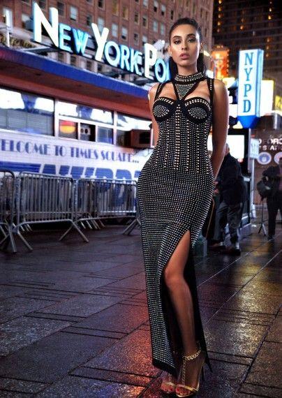 Shelby Black Studded Stretch Crepe Dress with Choker