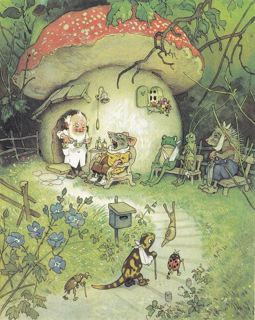 art, illustration, woodland, elf, mushroom, landscape, floral, animal, mouse, salamander, snail, frog, hedgehog, insect, grasshopper, ladybug, beetle, doctor, building, house //  Fritz Baumgarten.