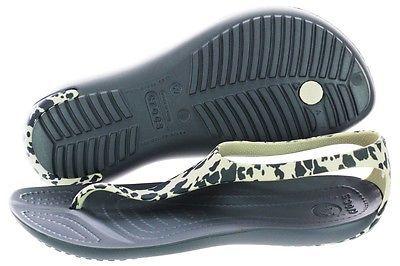 Crocs Sexi Leopard Print Flip 203218-025 Grey Slippers Medium (B, M) Womens