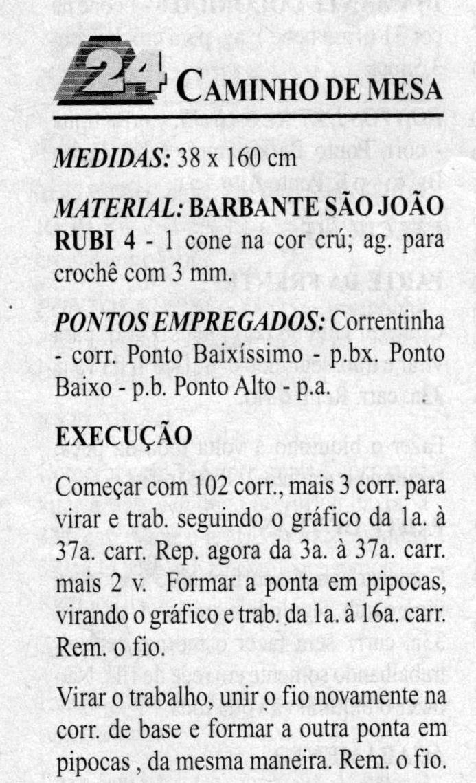 CAMINHO DE MESA EM CROCHÊ FILÊ TAMANHO 38 X 160 CM