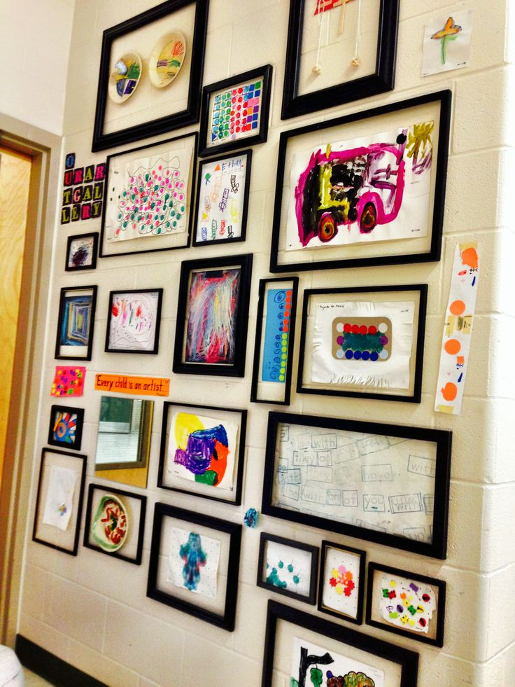 The art gallery.  Glassless frames mounted with #m command strips.  Student art mounted with sticky tac.