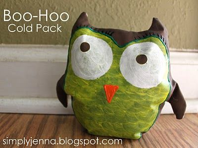 Owl boo boo cold pack - filled with rice and kept in the fridge/freezer.