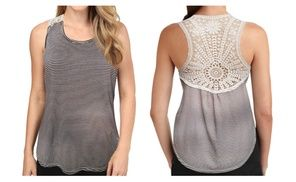 Groupon - Women Summer Sleeveless Gray & White Striped Tank Top - Crochet Back . Groupon deal price: $6.99