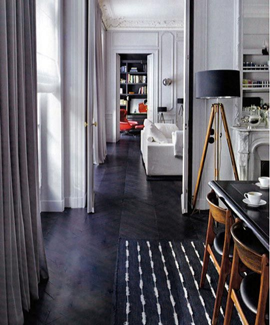 Ebonized chevron floors.: Black Floors, Bedrooms Design, Interiors, Dining Chairs, Black White, Floors Lamps, Woods Floors, Bedrooms Decor, White Wall