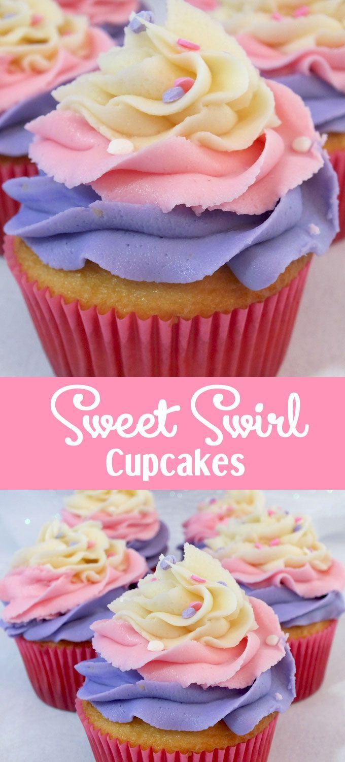 Oh my goodness, we just love the way these Sweet Swirl Cupcakes turned out. They are so yummy and so pretty. They would be a great Easter dessert, a fun Mother's Day Cupcake, or even a Doc McStuffin's Birthday Party Cupcake.