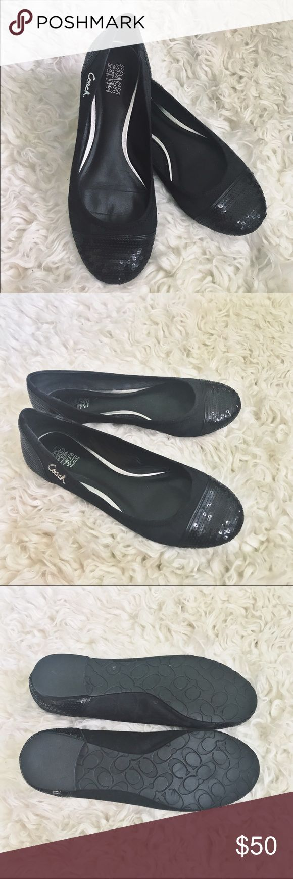 Black Coach Flats Only worn once black fabric signature C print Coach flats with black sequin accents on toe and heel, padded leather interior, rubber sole, Coach metal detail on the outer side of both shoes. Coach Shoes Flats & Loafers