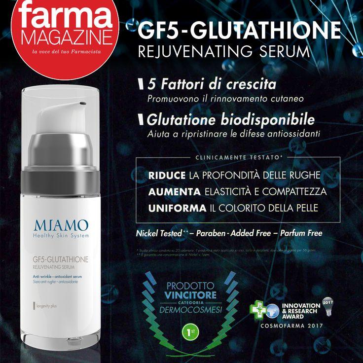 Per la tua bellezza FarmaMagazine consiglia il prodotto vincitore dello SPECIAL AWARD DERMOCOSMESI&TRICOLOGIA alla CosmofarmaExhibition: l'innovativo GF5-GLUTATHIONE REJUVENATING SERUM che introduce il concetto del #cosmeceutico, con cinque fattori di crescita di origine biotecnologica che simulano l'azione dei principali fattori di crescita endogeni, stimolando la sintesi di #acidojaluronico, la proliferazione delle cellule epidermiche e la crescita dei fibroblasti.  Pronti per una ricarica…