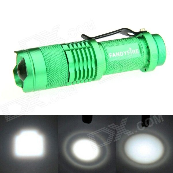 FANDYFIRE XP-E Q5 LED 400lm 1-Mode Zooming Bright White Light Flashlight - Green (1 x AA / 14500). Color Green Quantity 1 Piece Material Aluminum alloy Emitter Brand Others,N/A LED Type XP-E Emitter BIN Q5 Color BIN Cool White Number of Emitters 1 Working Voltage 1.2~3.7 V Power Supply 1 x 14500 / AA battery (not included) Current 1.8 A Theoretical Lumens 500 lumens Actual Lumens 400~500 lumens Runtime N/A Hour Number of Modes 1 Mode Arrangement Hi Mode Memory No Switch Type Reverse clicky…