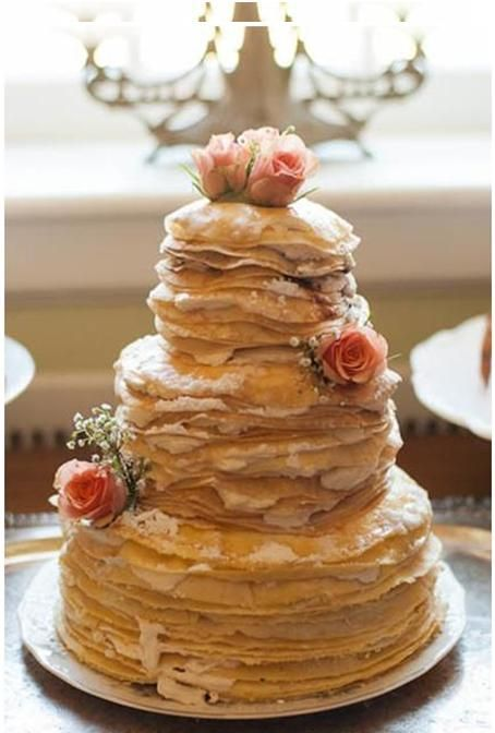 """Venture off the beaten path with a """"non-cakey"""" cake. This tall-tiered treat is made with whisper-thin crêpes and layered with mouthwatering ..."""